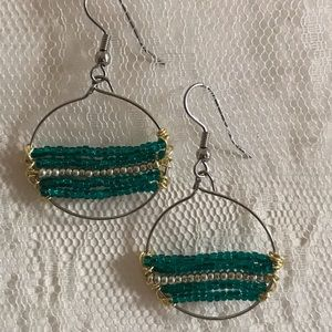 Hand made dangle hoop earrings rows of seed beads